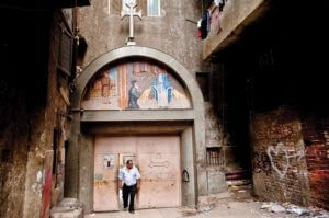 The entryway to the small church of St. Simon the Tanner in Cairo's garbage city, home to a large community of Coptic Christian garbage collectors and recyclers.